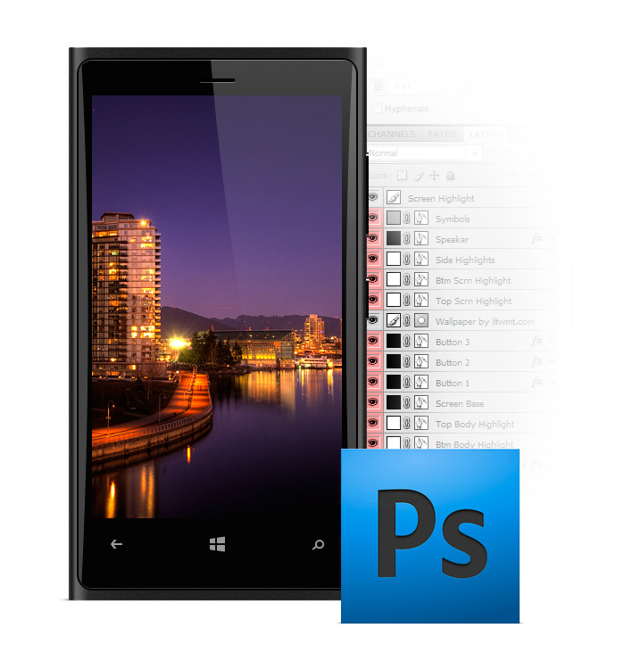 Windows 8 Photoshop Phone Template