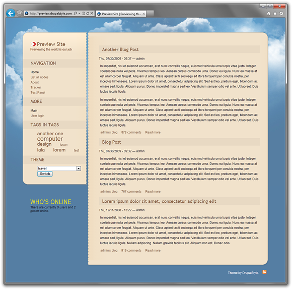 Travel - A Free Drupal 6 Blog Theme | Drupal Style